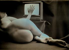 Hand on TV  (Female Nude)