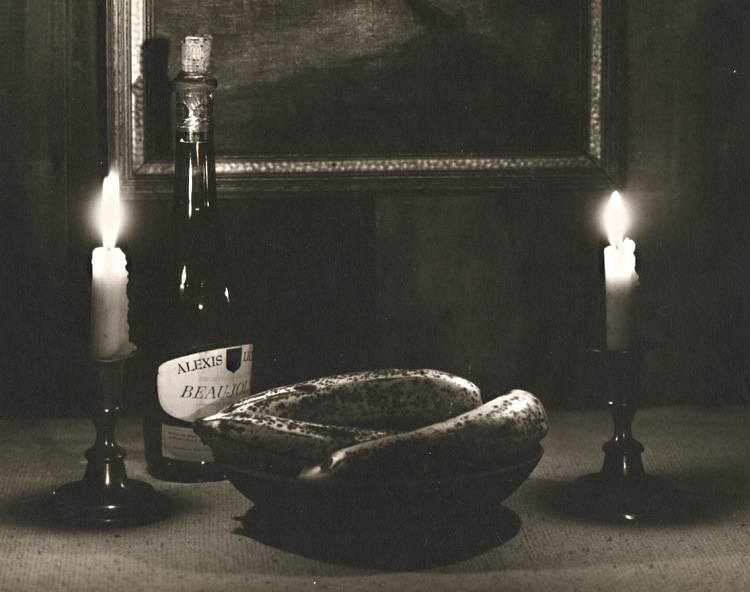 Candles, Ripe Bananas and a Bottle of Beaujolais Still Life