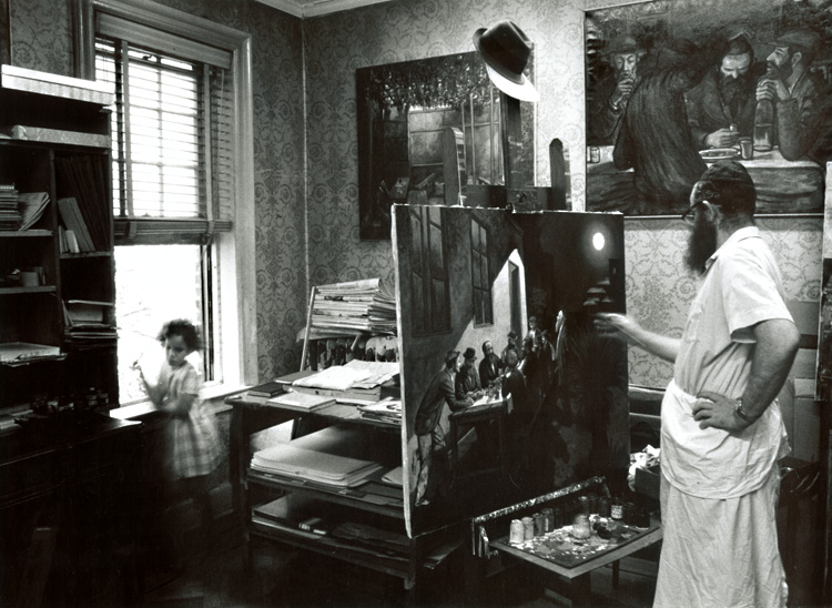 Zalman Kleinman Painting in His Studio, Brooklyn, NY