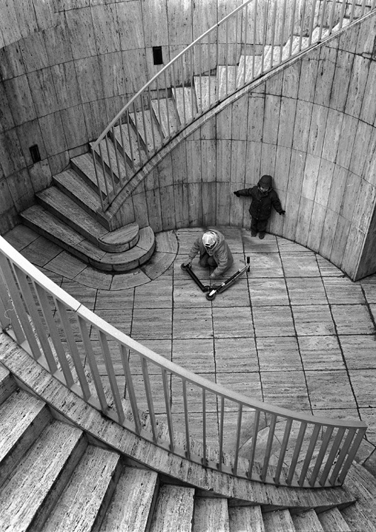 Boys, Scooter and Stairs (from the Paris Cycle)