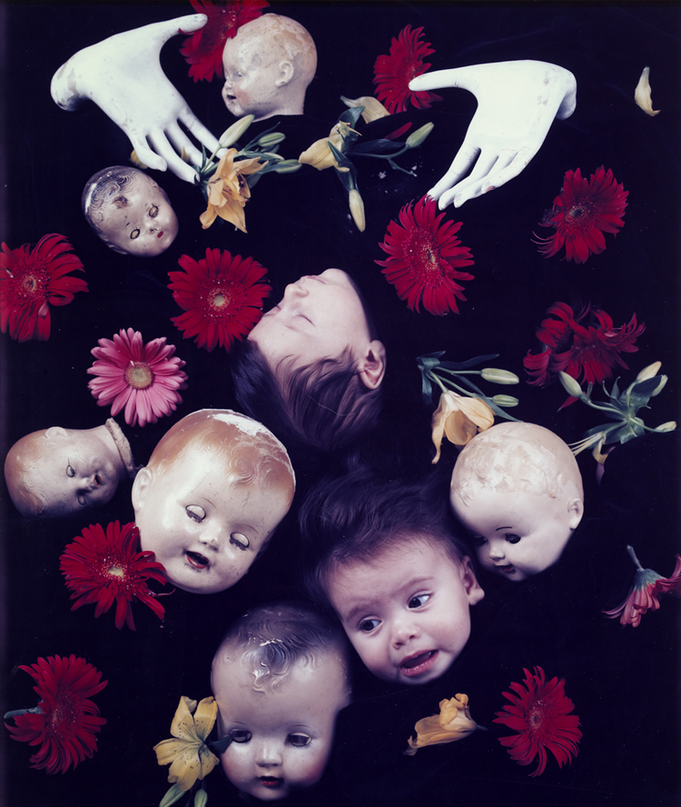 Floating Heads with Hands and Flowers