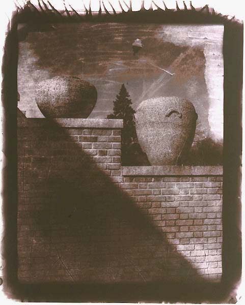 Untitled (Brick Wall with Clay Urns)