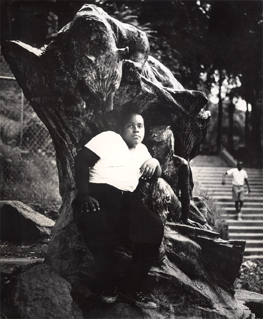 In an Old Bronze Statue a Negro Youth Sits in Morningside Park, NYC