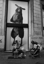 Stanko Abad�ic - Street Scene with Large Sheep Poster Click for more Images